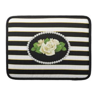 Elegant Black Stripes White Roses Macbook Sleeve