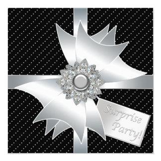 Elegant Black Surprise Birthday Party 13 Cm X 13 Cm Square Invitation Card