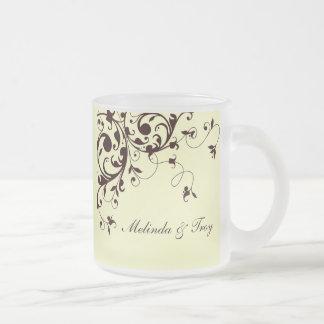 Elegant black swirl frosted glass mug