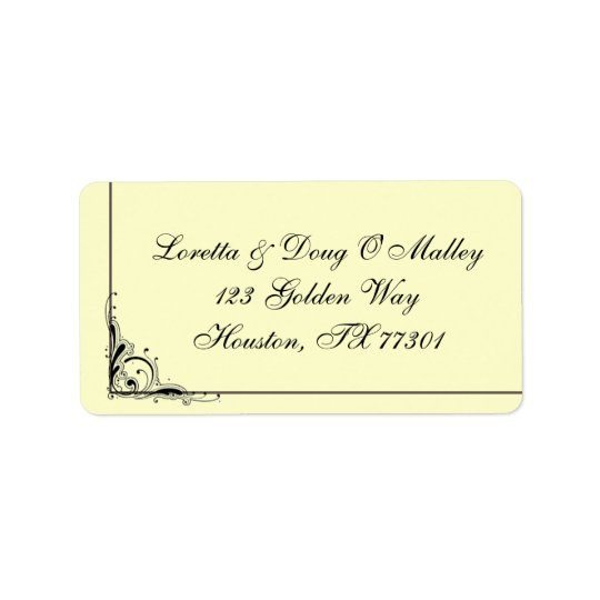Elegant Black Swirl Label Address Label