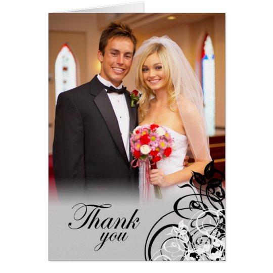 Elegant black swirls wedding thank you photo card