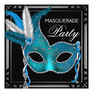Elegant Black Teal Blue Masquerade Party 13 Cm X 13 Cm Square Invitation Card