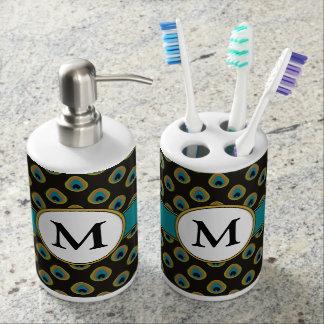 Elegant Black Teal Gold Peacock Custom Monogram Soap Dispenser And Toothbrush Holder