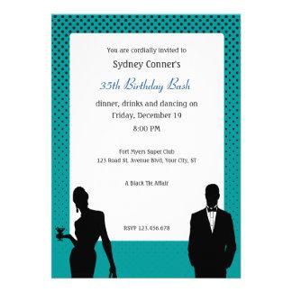 Elegant Black Tie Birthday Party Black Invitation