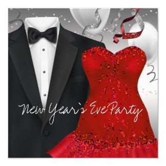 Elegant Black Tuxedo Red Dress Party 13 Cm X 13 Cm Square Invitation Card