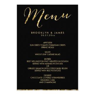 Elegant Black Wedding Menu With Gold Foil 13 Cm X 18 Cm Invitation Card