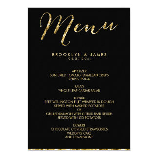 Elegant Black Wedding Menu With Gold Foil Card