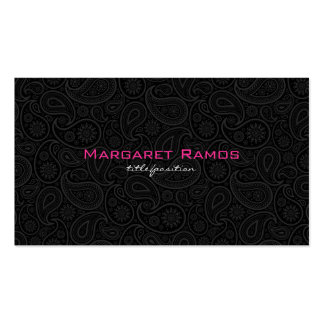 Elegant Black & White 2 Vintage Floral Paisley Business Card Templates