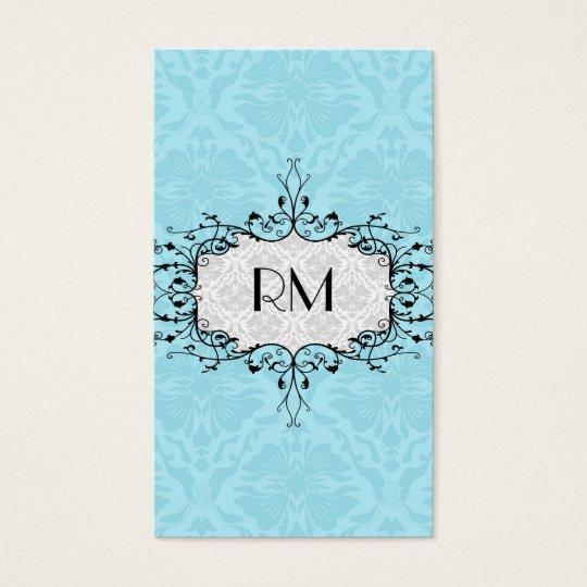Elegant Black White And Blue Vintage Damasks Business Card