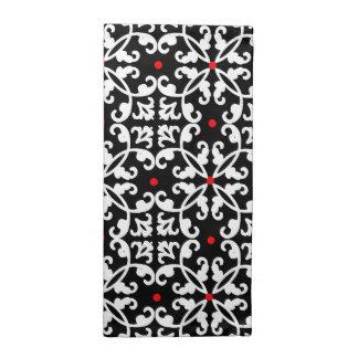 Elegant Black, White, and Red Damask Napkins