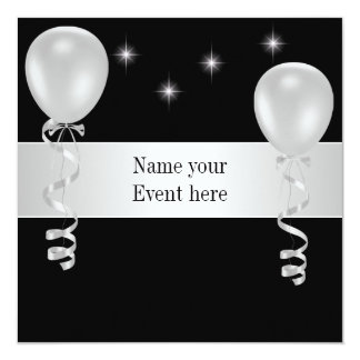 Elegant Black White Balloons Special Event 13 Cm X 13 Cm Square Invitation Card