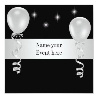 Elegant Black White Balloons Special Event 13 Cm X 13 Cm Square Invitation Card