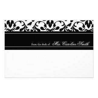 Elegant Black & White Birds & Flora Personalized Stationery Design