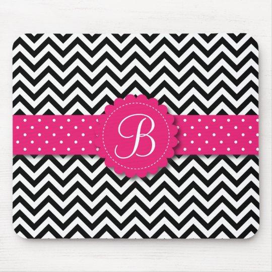 Elegant Black White Chevron Monogram Girly Pink Mouse Mat