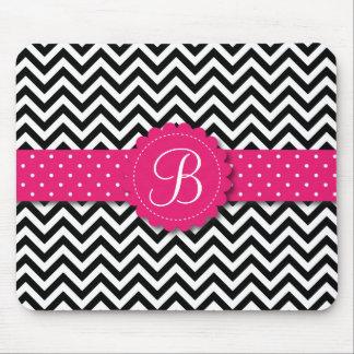 Elegant Black White Chevron Monogram Girly Pink Mouse Pad