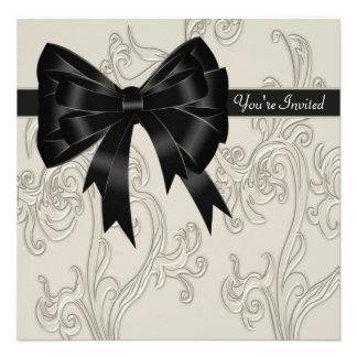 Elegant Black White Cream Swirl Party Personalized Invitation