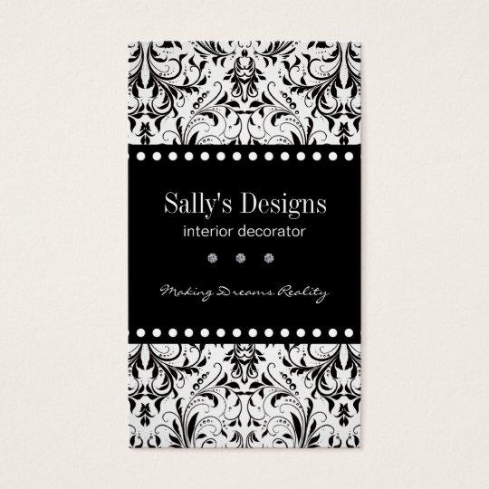 Elegant Black & White Damask Business Card