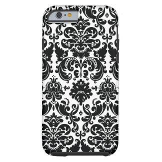 Elegant Black White Damask Pattern Tough iPhone 6 Case