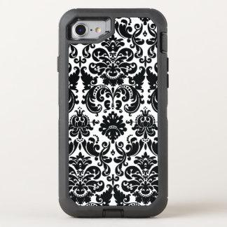 Elegant Black White Damask Pattern OtterBox Defender iPhone 8/7 Case