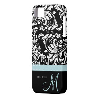 Elegant Black White Damask Pattern with Monogram iPhone 5 Covers