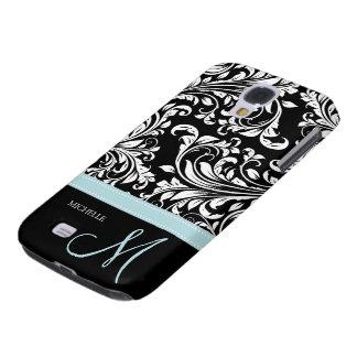 Elegant Black & White Damask Pattern with Monogram Galaxy S4 Case