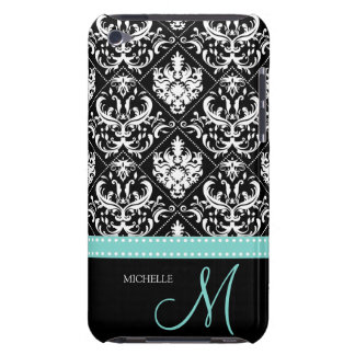 Elegant Black & White Damask Pattern with Monogram iPod Touch Covers