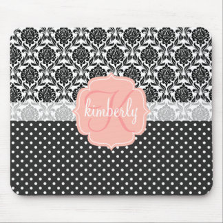 Elegant Black & White Damask Pink Girly Monogram Mouse Mat