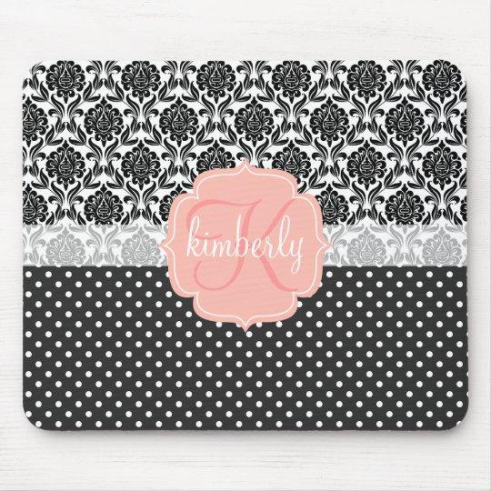 Elegant Black & White Damask Pink Girly Monogram