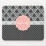 Elegant Black & White Damask Pink Girly Monogram Mousepad