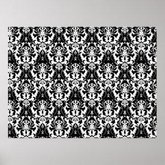 Elegant Black White Damask Print