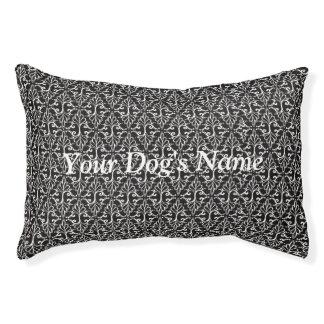 Elegant Black White Damask Scrolls Pet Bed
