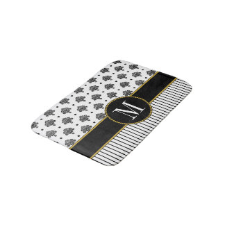 Elegant Black White Damask Stripes Gold Monogram Bath Mat