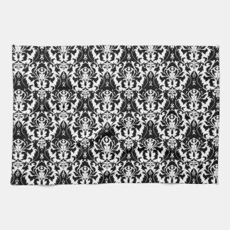 Elegant Black & White Damask Tea Towel