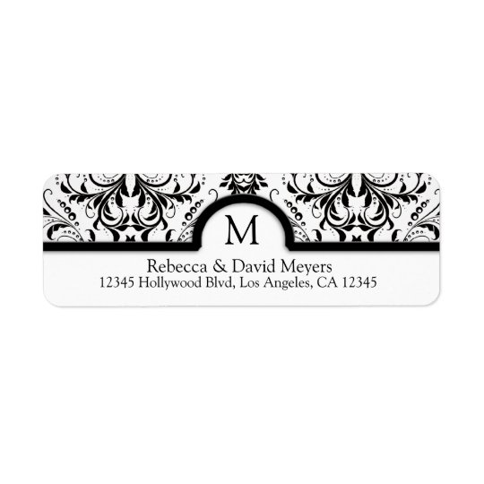Elegant Black & White Damask with Monogram Return Address Label