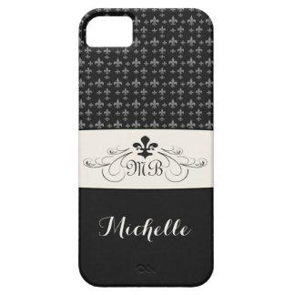 Elegant Black White Fleur de Lis Case For The iPhone 5