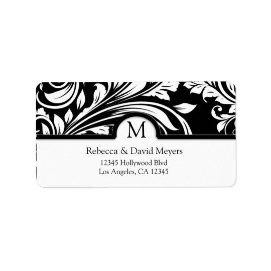 Elegant Black & White Floral Damask with Monogram Address Label