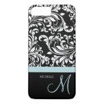 Elegant black & white floral damask with monogram iPhone 7 plus case