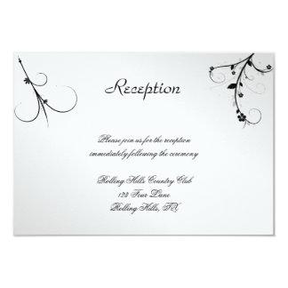 Elegant Black White Floral Gay Wedding Reception Card