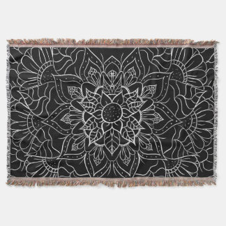 Elegant black white floral mandala drawing throw blanket