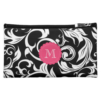 Elegant Black White Floral Scroll Pink Monogram Makeup Bag
