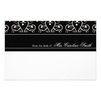 Elegant Black & White Flourish Personalized Stationery