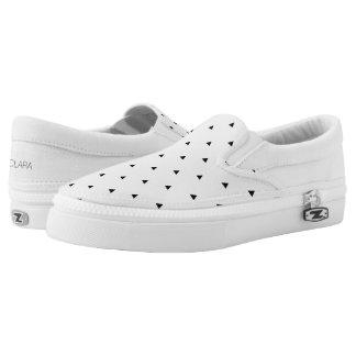 Elegant black white geometric pattern   triangles Slip-On shoes