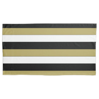 Elegant Black White Gold Brown Stripes Pattern Pillowcase