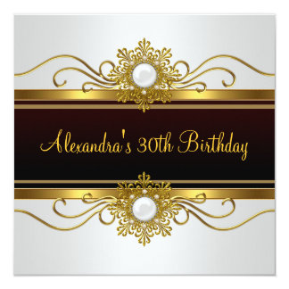 Elegant Black White Gold  Jewel 30th Birthday 13 Cm X 13 Cm Square Invitation Card