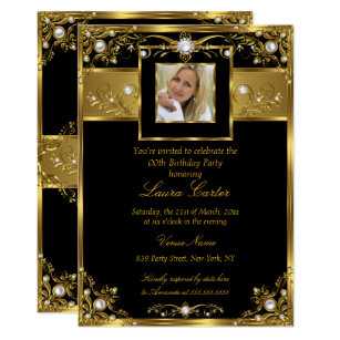 Elegant Black White Gold Pearl Photo Birthday Invitation