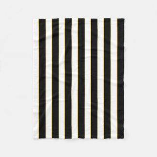 Elegant Black/White/Gold Stripes Fleece