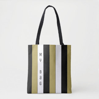 Elegant Black White Gold Stripes Pattern My Bag