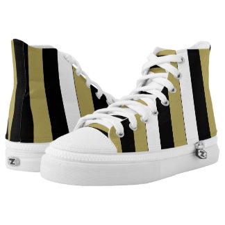 Elegant Black White Gold Stripes Pattern Shoes
