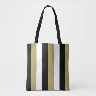 Elegant Black White Gold Stripes Pattern Tote Bag