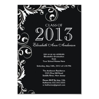 Elegant Black White Graduation Party Invitation